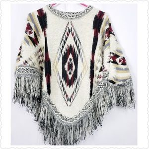World Market Aztec Mexican Print Poncho O/S